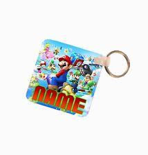 Super Mario Personalised Name Added Fiberglass Plastic Square Keyring