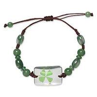 Wholesale 2 Green Four Leaf Clover Shamrock Luck Bracelets Irish Jewelry