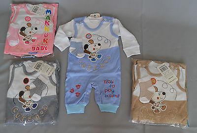 Schlafanzug 2 Tlg Pyjama mit Hundemotiv Größe 3 Monate= 62 cm 6 Monate= 74cm