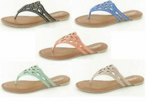 **SALE** Ladies Savannah Collection toe post sandal F0759 Diamante Detail