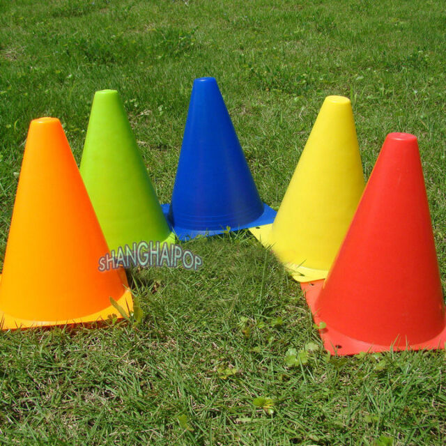 5 X Road Traffic Cone Plastic Barrier Training Football Pitch Corner Marker 18CM