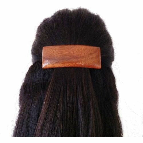 Hawaiian Koa Wood Small Rectangle Barrette Hair Clip from Maui Hawaii