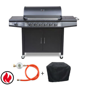 taino pro set gasgrill bbq grillwagen 6 edelstahl brenner. Black Bedroom Furniture Sets. Home Design Ideas