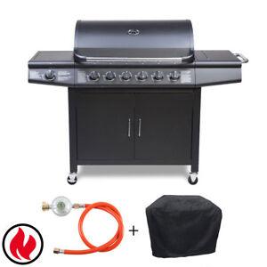 TAINO PRO Set Gasgrill BBQ GRILLWAGEN 6 Edelstahl Brenner+ ...