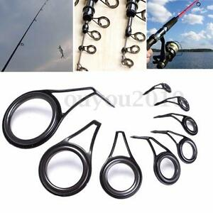 8pcs vintage oval fishing rod eyes guides line rings 6 for Fishing rod eye repair kit