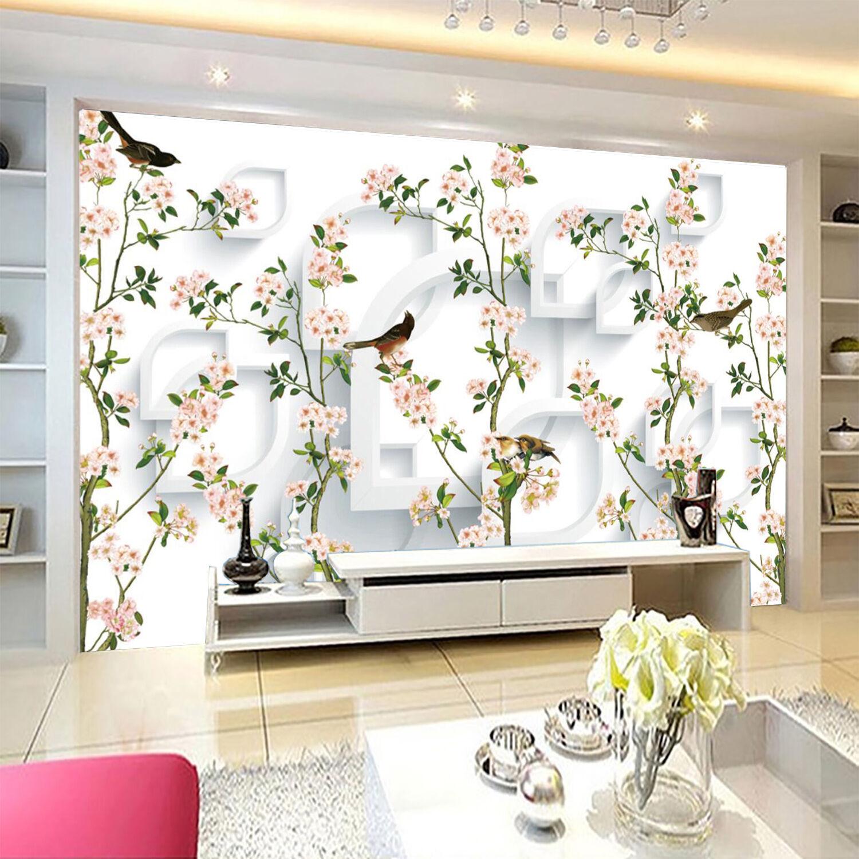 3D Flowers, birds 3445 Wall Paper Print Wall Decal Deco Indoor Wall Murals