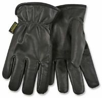 (2) Pair Black Goatskin Leather : Men Size : Extra Large Thermal Lined- 93hk Xl