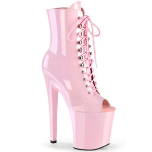 Pleaser XTREME-1021 Baby Pink Patent Heel Platform Peep Toe Lace-Up Ankle Boot