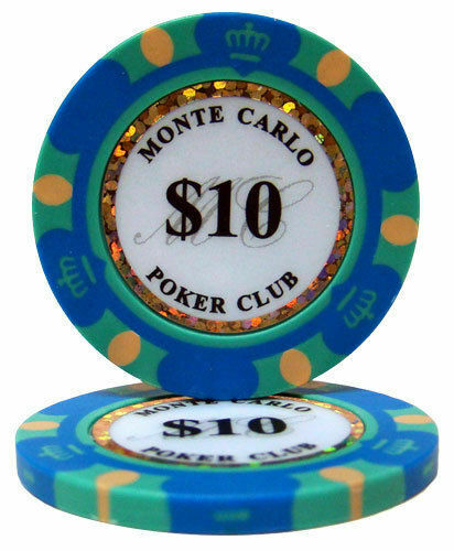 Monte Carlo 14g Clay Poker Chips Sample Set New 10 Denominations
