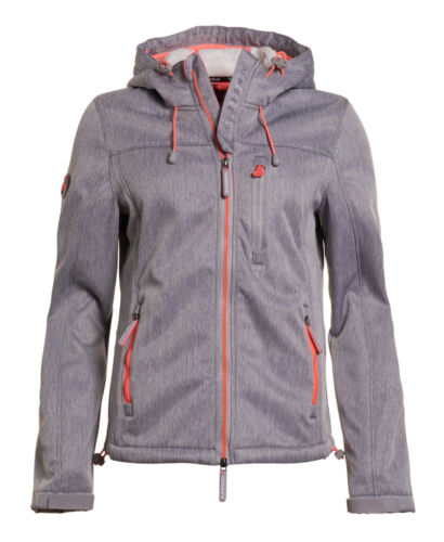Neue Damen Superdry Hooded Sherpa SD-Windcheater Light Grau Meliert