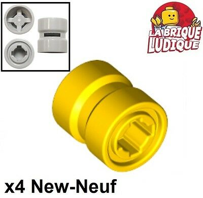 Lego 4x roue jante wheel 8mm D.x 9mm Reinforced back jaune//yellow 74967 NEUF