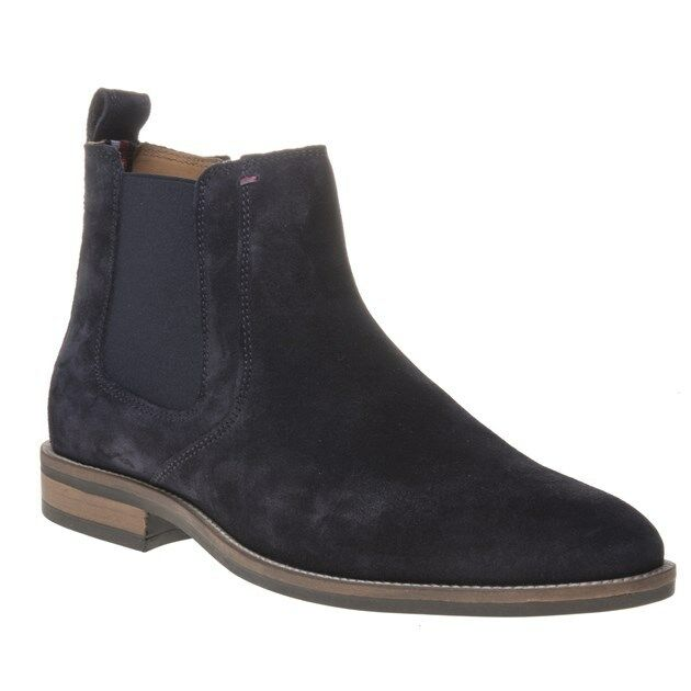 New  Uomo Tommy Hilfiger Navy Blau Essential Suede Stiefel Chelsea Lace Up