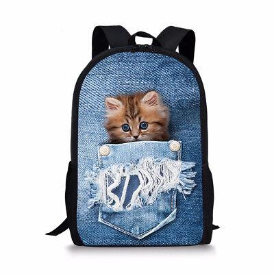 Junior Middle School Backpack Girls Boys Kids Cool Cat Dog Bag