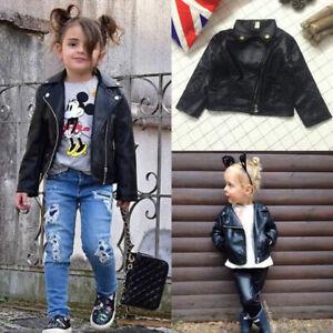 Girl-039-s-BOYS-Black-Faux-Leather-Warm-Biker-Jacket-Coat-Age-2-3-4-5-6-7-Y-FASHION