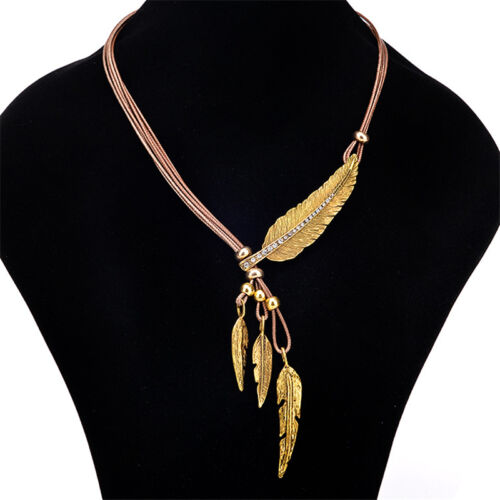Alloy Feather Statement Necklaces Pendants Vintage Jewelry Rope Chain Necklace