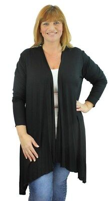 Begeistert Plus Size Ladies Long Sleeve Jersey Drape Waterfall Stretch Cardigan Top 14-28