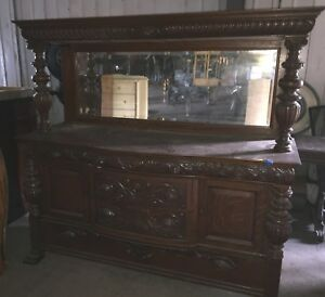 Vintage Antique Wooden Breakfront Dresser Mirror Ornate Beautiful Ebay