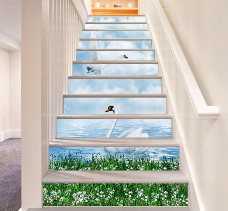 3D Sky lake swan 37 Stair Risers Decoration Photo Mural Vinyl Decal Wallpaper UK