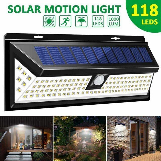 118 Led Solar Powered Wall Light Motion Sensor Security Lamp Outdoor Garden For Sale Online Ebay