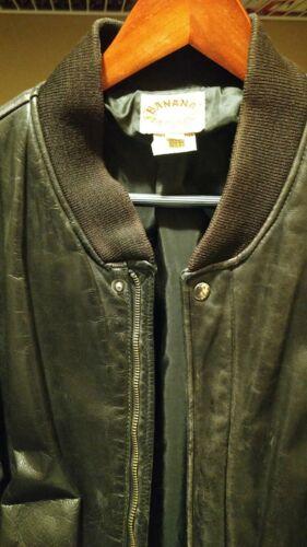 Mens vintage brown leather bomber jacket