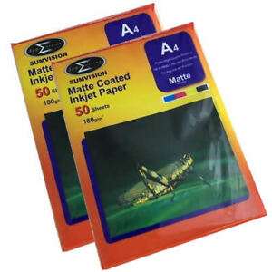 100-Sheets-Sumvision-A4-180GSM-Matte-Coated-White-Inkjet-Photo-Paper-A-Grade
