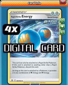 4x Rapid Strike Energy Pokemon TCG Online PTCGO 140/163 Special DIGITAL CARD