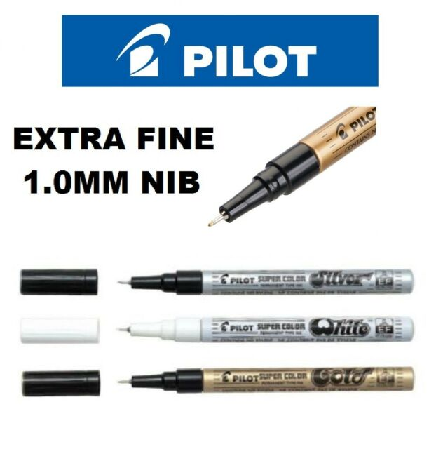 Pilot Super Colour Extra Fine Permanent Marker Pen Silver.