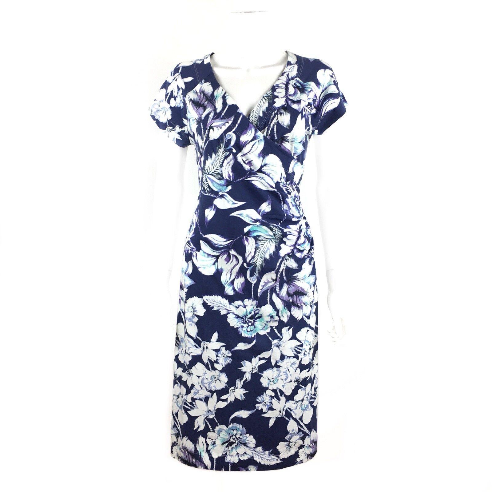 Soft Surroundings Shapely Anywhere bluee Indigo Faux Wrap Stretch Dress Sz Medium