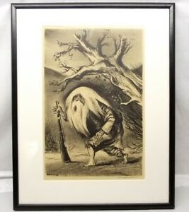 Vtg-William-Gropper-Signed-Lithograph-Rip-Van-Winkle-Framed-Ready-to-Hang