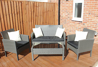 WICKER TABLE SOFA & 2 CHAIR Garden Conservatory Set Rattan in Black All Weather