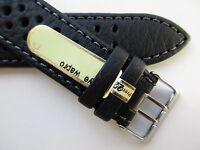 Di-Modell Rallye black waterproof grey stitched leather watch band