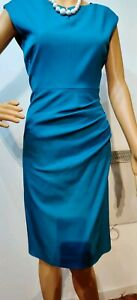 NEW-L-K-BENNETT-RUCHED-DR-TANCY-SIZE-UK-10-US-6-BLUE-577-ACETATE-41-VISCOSE