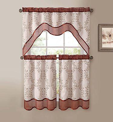Cinnamon Beige 3-Pc Kitchen Window Curtain Set: Two-Layer Sheer, Vine Embroidery