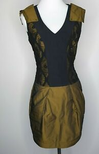 Cue Black Green Fit & Flare Lace Sleeveless Party Cocktail Dress / Size 10