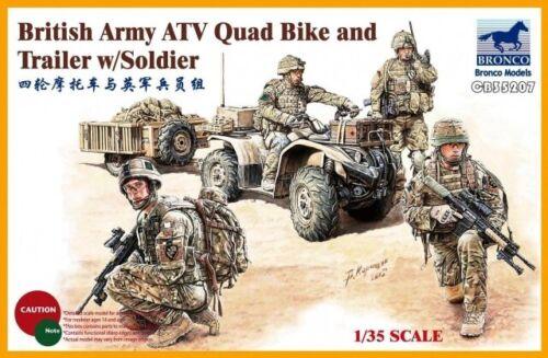Bronco 1//35 armée britannique ATV quad vélo et remorque avec soldat # CB35207