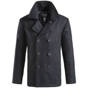 Surplus Classic Vintage Pea Coat Windproof Mens Army Winter Reefer ...