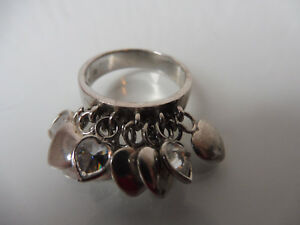 schoner-alter-Ring-925-Silber-hangende-Herzen-Herzring