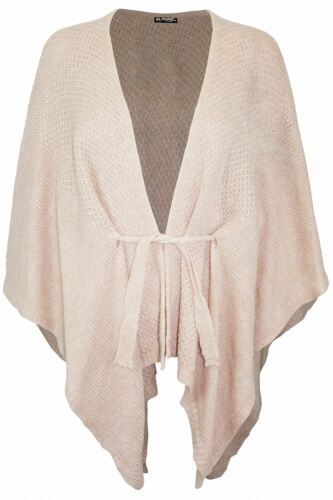 Débardeur femme à grosses mailles Belted Waterfall Cardigan Sweater Poncho Châles