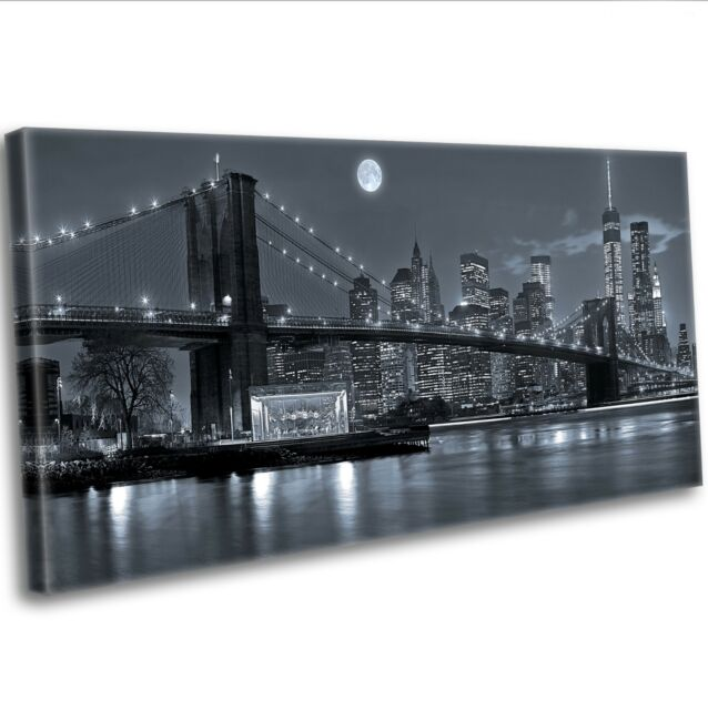 Canvas Print New York City Manhattan Skyline At Night Panoramic Framed Wall Art