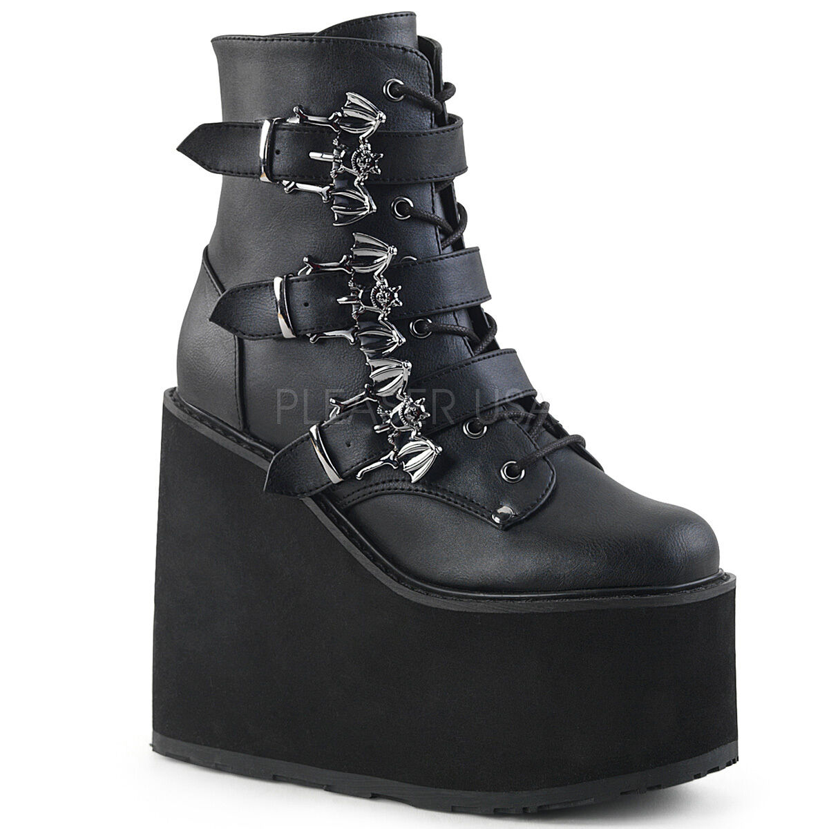 DEMONIA SWI103 BVL Wedge Platform Women's Punk Goth Ankle Boots w  Bat Buckles