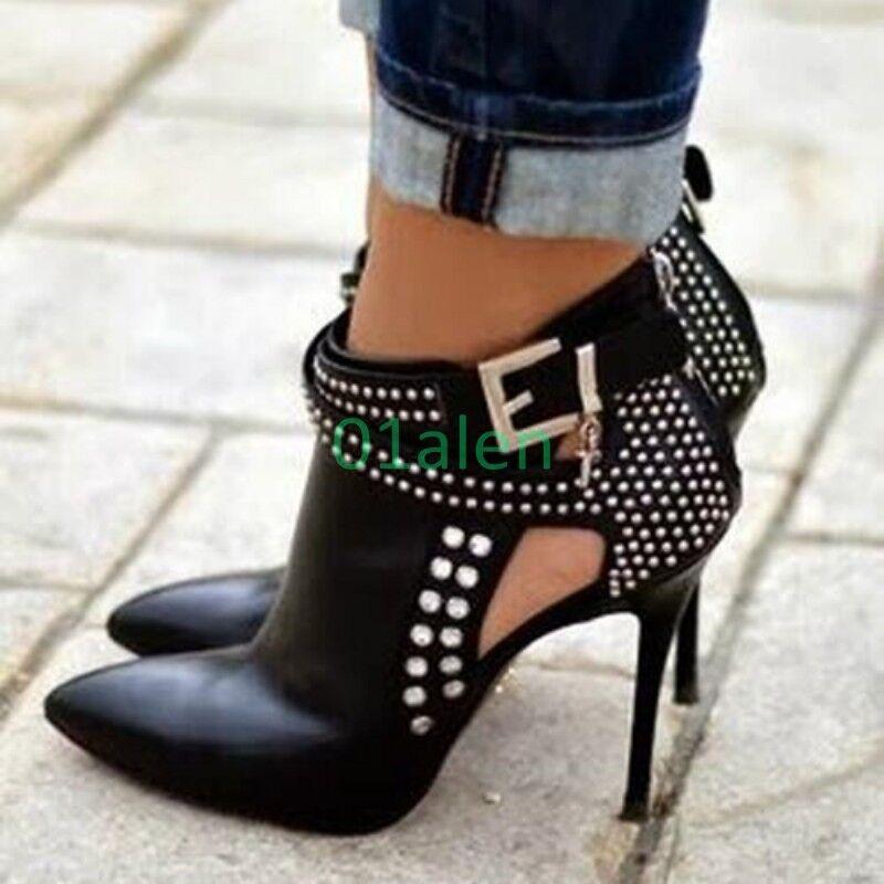 Senza tasse donna Rivet Ankle stivali Buckle High Heel Heel Heel Stiletto Pointy Toe Party Hollow Out  il più alla moda