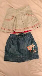 Baby Girl 12-18 Months 2x Skirts Denim Cherokee Grey Wool Mothercare