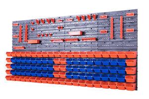142-SET-Lagersichtboxenwand-Stapelboxen-mit-Montagewand-Werkzeugwand-Blau-Orange