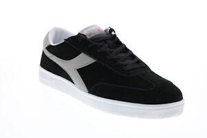 Diadora Field 172351-C2100 Mens Black Nubuck Lace Up Lifestyle Sneakers Shoes
