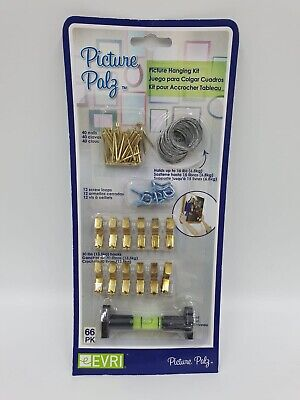 Picture Hanging Kit Set Wires Nails Spirit Level Single Double Hook Gold Frame