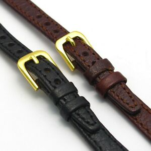 Ladies-Open-Ended-Watch-Band-Strap-Genuine-Leather-6mm-14mm-Black-or-Brown-D003