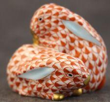 VTG Signed Herend Hungary Rust Fishnet Porcelain Pair of Bunny Rabbits Figurine