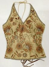 Vintage 90's AFTERSHOCK Beaded Sequined Silk Gold Lace Up Halter Corset Top Sz S