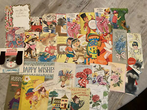 Vintage-Greeting-Cards-Lot-1950-s-And-Up-30-Cards-Ephemera-Birthday-B