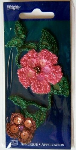 24 Wholesale Wrights Pink Sequin Green Packaged Iron On Applique Patches #58